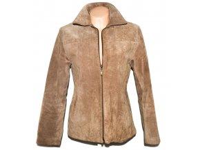 KOŽENÁ dámská béžová broušená bunda na zip Milan Leather L
