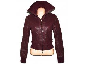 KOŽENÁ dámská vínová bunda na zip M 3