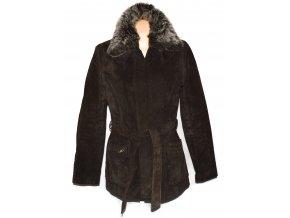 KOŽENÝ dámský hnědý broušený kabát s páskem a kožíškem PAPAYA L