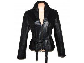 KOŽENÝ dámský černý měkký kabátek s páskem FUTURE XL 2