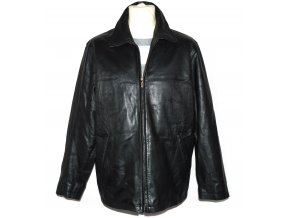 KOŽENÁ pánská černá měkká zateplená bunda na zip Marks&Spencer L/XL