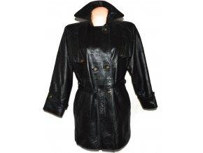 KOŽENÝ dámský černý měkký zateplený kabát s páskem Sheep land XL