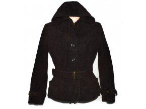 KOŽENÝ dámský hnědý broušený kabátek s páskem C&A L