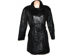 KOŽENÝ dámský černý měkký kabát s páskem L/XL