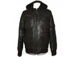 Pánská hnědá koženková bunda s kapucí Cedarwood state M