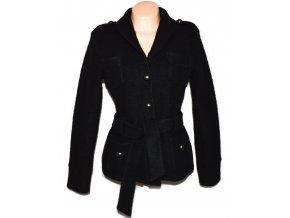 Vlněný dámský černý kabátek s páskem NEXT L