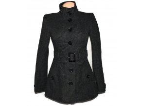 Vlněný dámský šedý kabát s páskem Clockhouse S