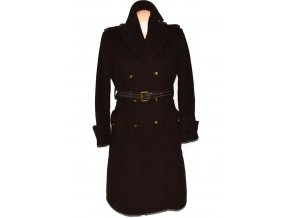 Vlněný (80%) dámský hnědý kabát s páskem NEXT M