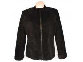KOŽENÁ dámská hnědá broušená bunda na zip PAPAYA XL