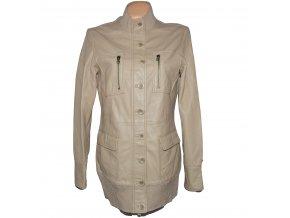 KOŽENÝ dámský béžový kabát na zip SNAP SHOT L