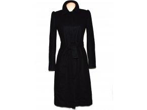 Vlněný dámský dlouhý černý kabát s páskem TOPSHOP 10/38