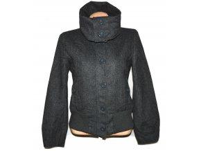 Vlněná dámská šedá bunda na zip H&M UK 12