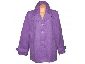 Vlněný (80%) dámský fialový kabát XXXXL+ / UK 28
