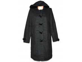 Dámský dlouhý šedočerný kabát s kapucí Being Casual XL