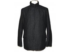 Vlněný pánský šedočerný kabát M/L