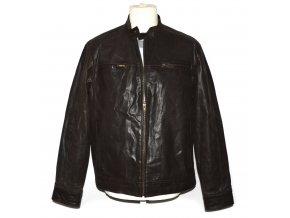 KOŽENÁ pánská hnědá zateplená bunda na zip F&F L