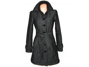 Vlněný dámský zateplený šedočerný kabát s páskem CLOCKHOUSE S