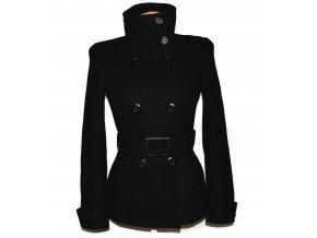 Vlněný dámský černý kabát s páskem PIMKIE S