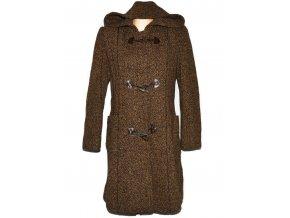 Vlněný dámský hnědý kabát s kapucí (vlna, kašmír) XL