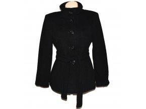 Vlněný dámský černý kabát s páskem BHS L