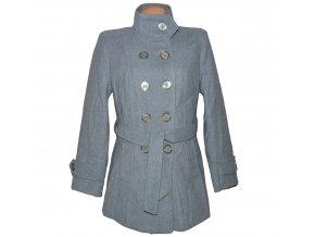 Dámský šedý zateplený kabát s páskem Magda Collection XL