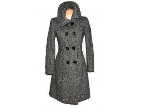 Vlněný dámský černobílý dlouhý kabát NEW LOOK L