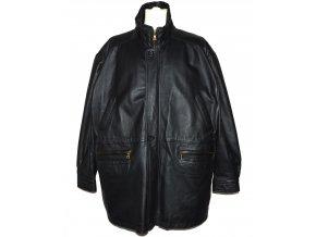 KOŽENÁ pánská černá měkká zateplená bunda na zip Gianni Mariolano