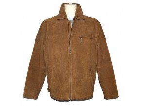 KOŽENÁ pánská hnědá broušená zateplená bunda na zip Different 52
