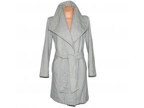 Vlněný dámský šedý kabát s páskem MANGO M