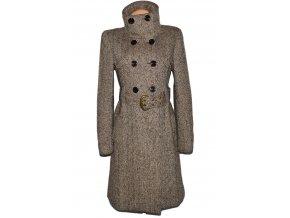 Vlněný dámský hnědý dlouhý kabát s páskem AMISU 40