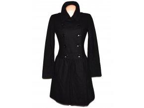 Vlněný (75%) dámský černý dlouhý kabát Hallhuber (vlna, kašmír) 36