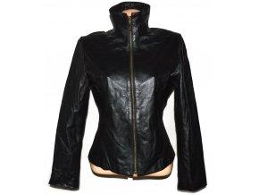 KOŽENÁ dámská černá měkká bunda na zip SOON L