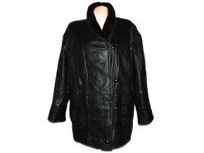KOŽENÝ dámský černý měkký zimní kabát s kožíškem XXL