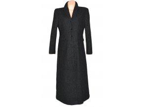Vlněný (80%) dámský dlouhý šedočerný kabát Grey Flanell L