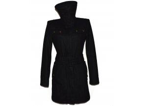 Vlněný dámský černý kabát s páskem Urban L