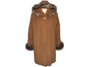 Vlněný dámský hnědý zateplený kabát s kapucí (vlna, kašmír) XXXL