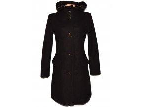 Vlněný (80%) dámský hnědý kabát s kapucí BENETTON L