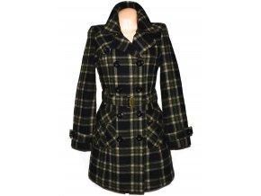 Dámský hnědý kostkovaný zateplený kabát s páskem ORSAY 36