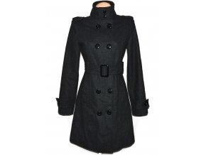 Vlněný dámský šedý kabát s páskem 36