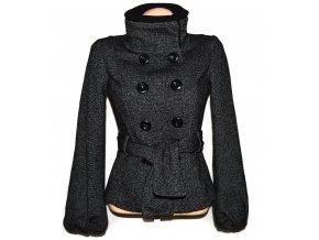Vlněný dámský černobílý kabát s páskem MANGO 36