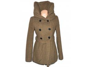 Dámský hnědý kabát s páskem a límcem AMISU 40