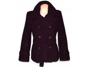 Vlněný dámský fialový kabát s páskem (vlna, kašmír) 46