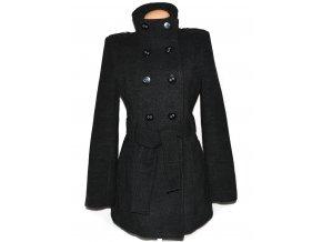 Dámský šedočerný kabát s páskem TIMEOUT L