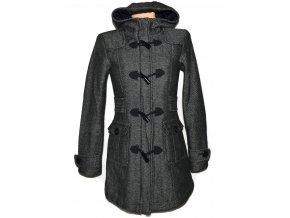 Dámský šedočerný kabát s kapucí Yessica