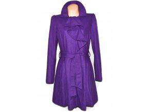 Vlněný dámský fialový kabát s páskem Debenhams 14/42