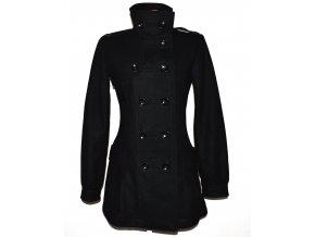 Vlněný (80%) dámský černý kabát TIMEOUT 38