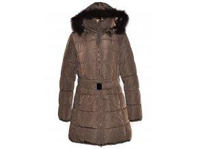 Dámský šusťákový hnědý kabát s páskem a kapucí XXL