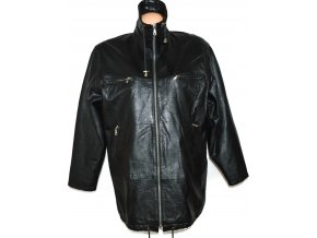 KOŽENÝ dámský černý měkkoučký kabát na zip XXL