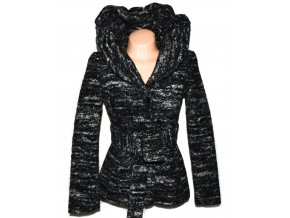Dámský šedočerný kabát s páskem ZARA S