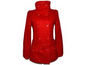 Vlněný dámský červený kabát s páskem PIMKIE 36